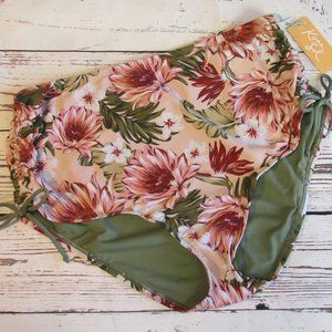 Kona Sol High Waist Bathing Suit Bottoms XL Ruched